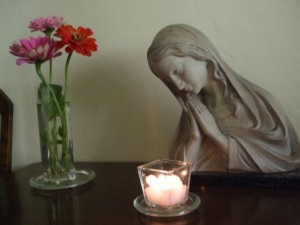 prayer and flowers