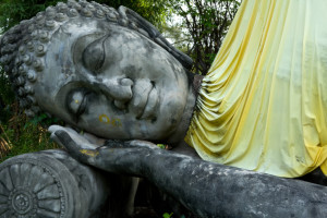 Monuments of sleeping buddah Sarmutprakan Thailand